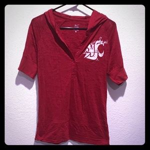 Washington State Cougars distressed this hoodie.